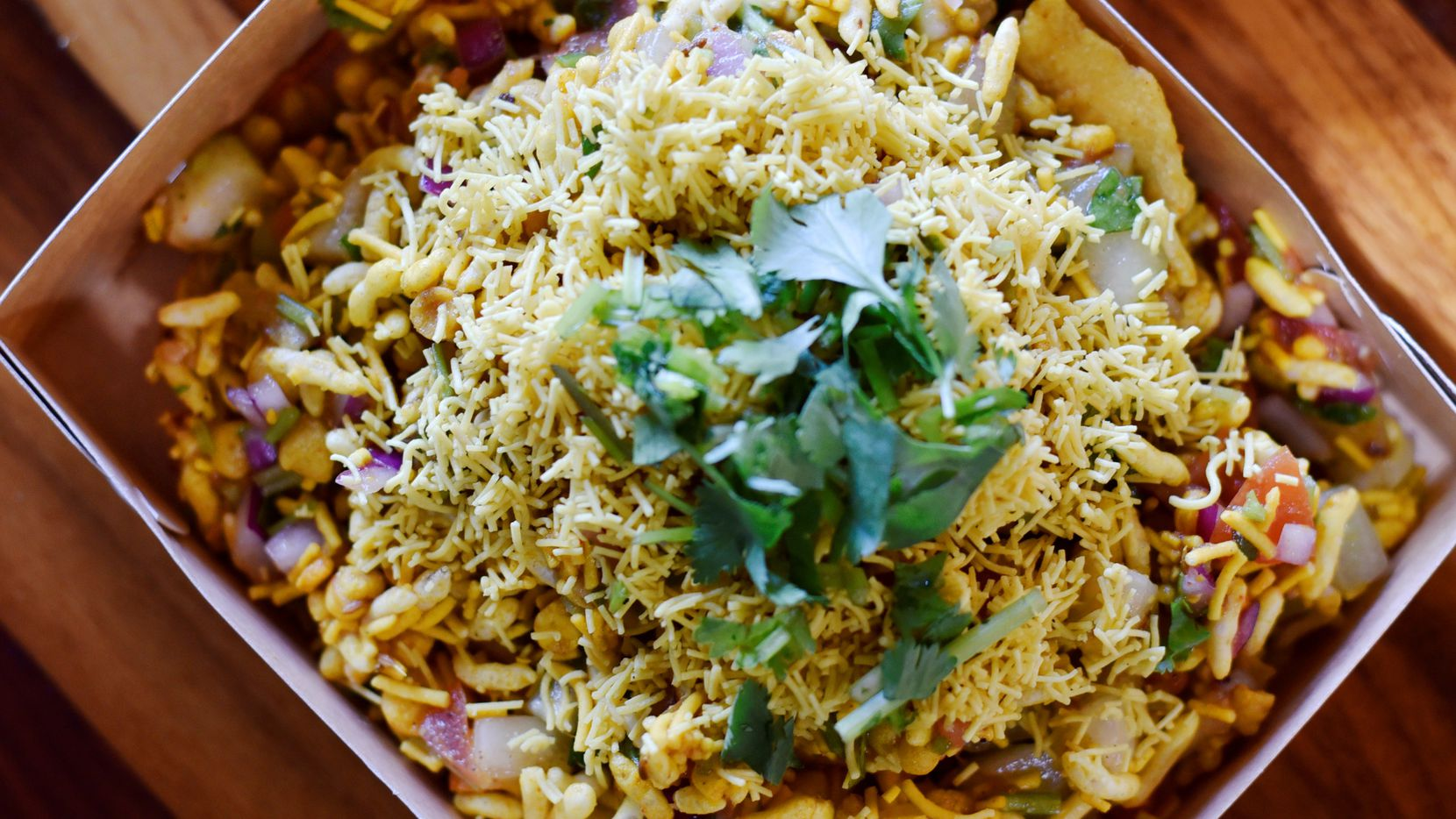 The lipsmacking bhel puri at Desi District in Irving