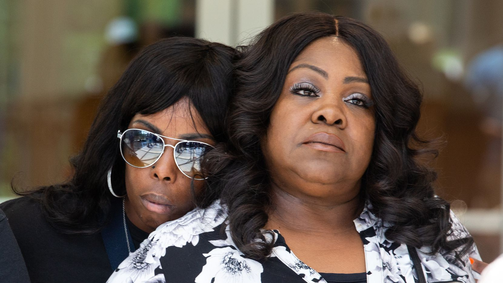 Kamona Nelson leans on LaSandra Scott after LaSandra spoke at a press conference at the Collin County Courthouse on July 12, 2021, three days after the release of a 41 minute video leading up to Marvin Scott III's death at the Collin County Jail. (Shelby Tauber/Special Contributor)