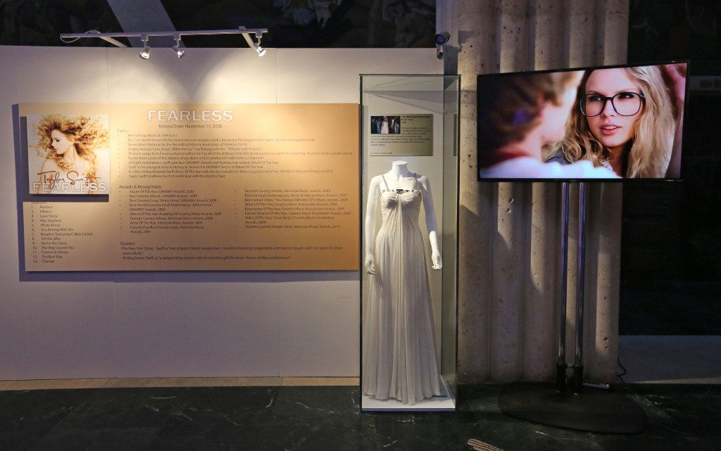 Videos of Taylor Swift highlight many of the display areas at the Taylor Swift Experience, a new exhibit at this year's State Fair of Texas, photographed at the Hall of State Building in Fair Park in Dallas on Wednesday, September 28, 2016. (Louis DeLuca/The Dallas Morning News)
