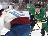 Dallas Stars left wing Jason Robertson (21) gets ready for a face off against the Colorado Avalanche in the first period at the American Airlines Center in Dallas, Thursday, October 7, 2021.