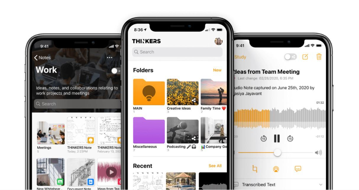 The Thinkers app helps capture notebook pages and other documents.