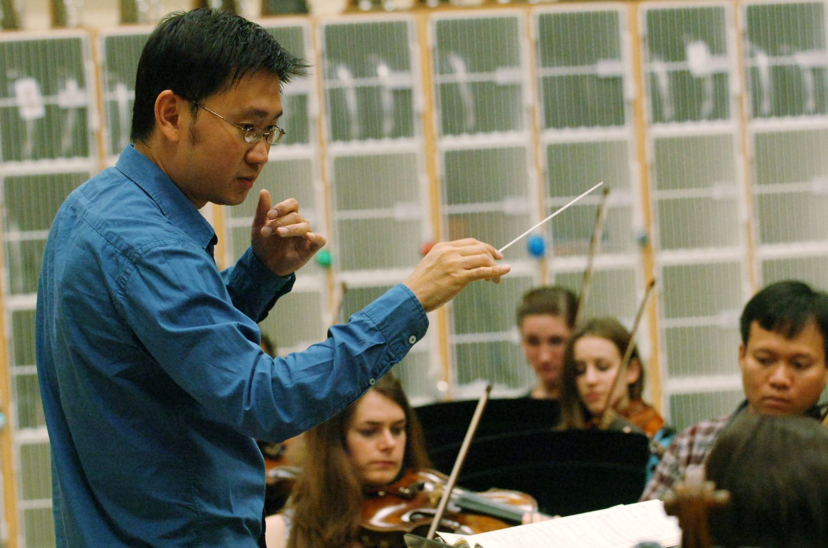 Artistic director Jason Lim conducts the Odysseus Chamber Orchestra, a newly formed professional, nonprofit chamber orchestra, during their practice at Calhoun Middle School, Tuesday, May 1, 2012, in Denton. Lim said he had used Brown Paper Tickets since 2012.