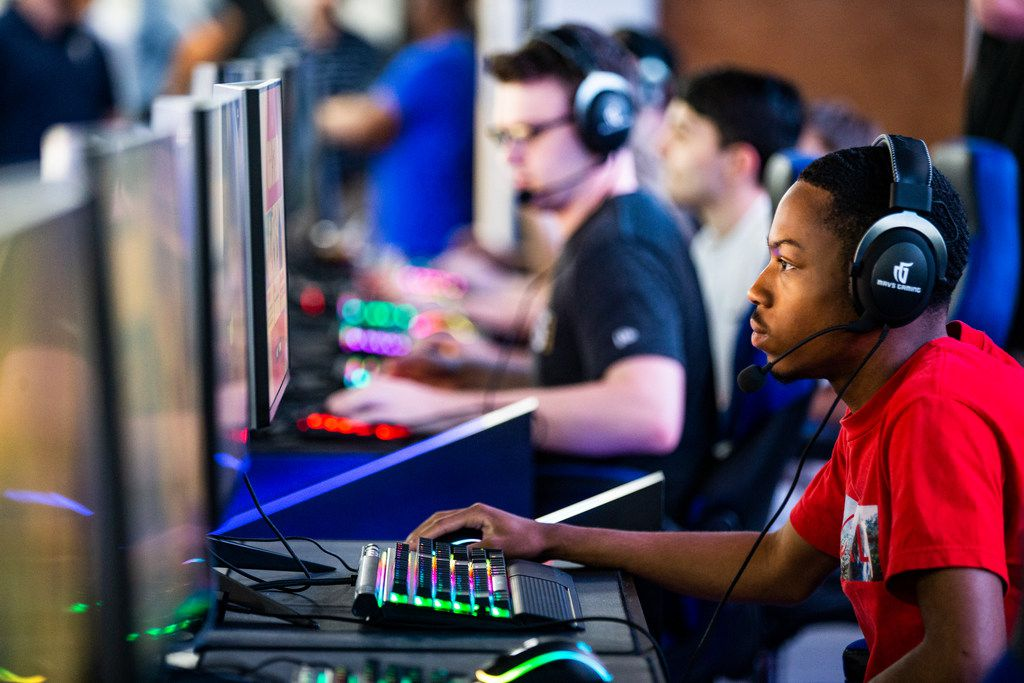 "Jahlil McClure, who goes by the gamer name ""Sleetys,"" plays a round of Fortnite during an open house at the Mavs Gaming Pavilion in Deep Ellum, Thursday, September 6, 2018."