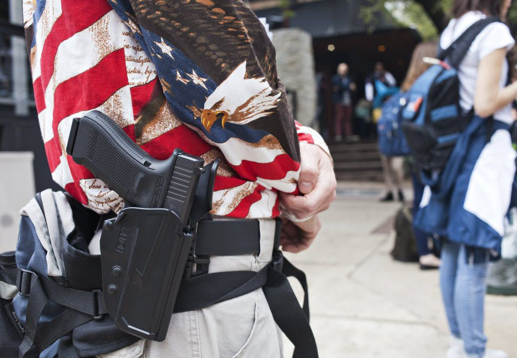 Tom Parkinson was in attendance as one of the members of Open Carry Texas during their protest during SXSW in Austin, Texas on March 11, 2016.