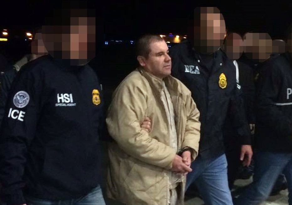 """Joaquin Guzman Loera aka """"El Chapo"""" Guzman, was escorted in Ciudad Juarez by Mexican police on Jan. 19, 2017, as he was extradited to the United States."""
