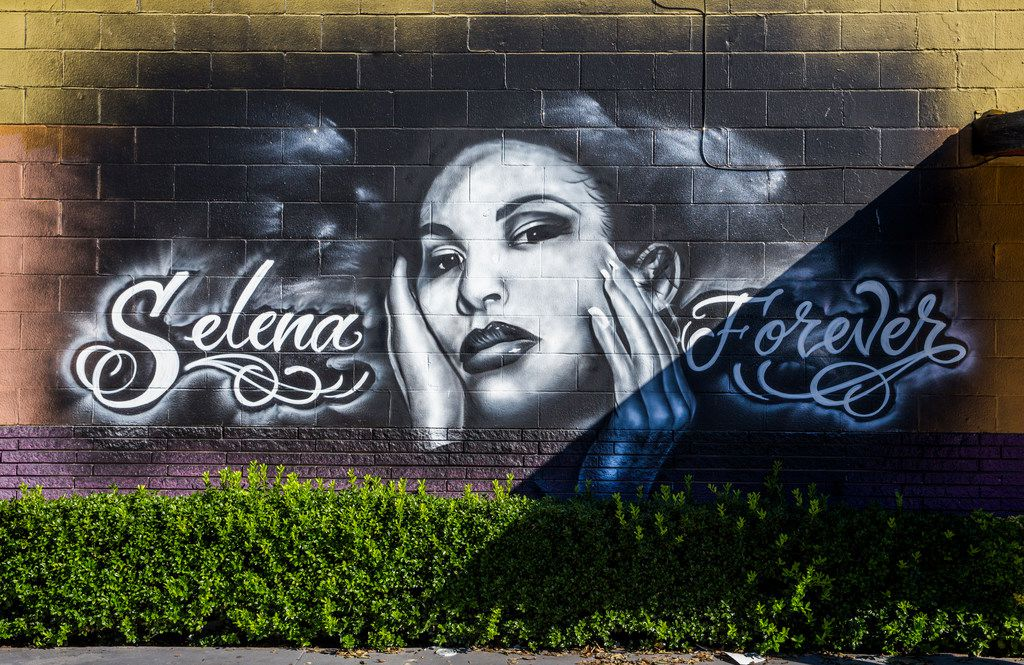 A mural of singer Selena is displayed on a wall outside Country Burger at 401 S. Hampton Road in Oak Cliff.