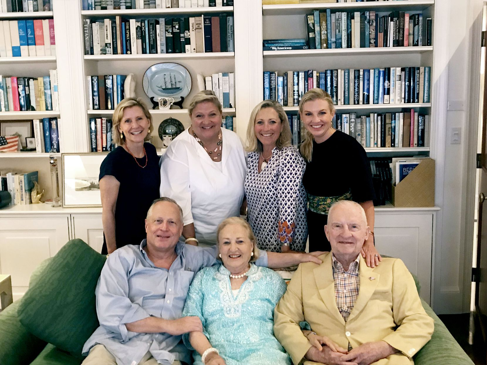 The Perot family members are shown in Bermuda during Easter 2019. Front row: (L-R) son Ross Perot Jr., Margot and Ross Perot. Back row: (L-R) daughters Nancy Perot, Suzanne Perot McGee, Carolyn Perot Rathjen and Katherine Perot Reeves.