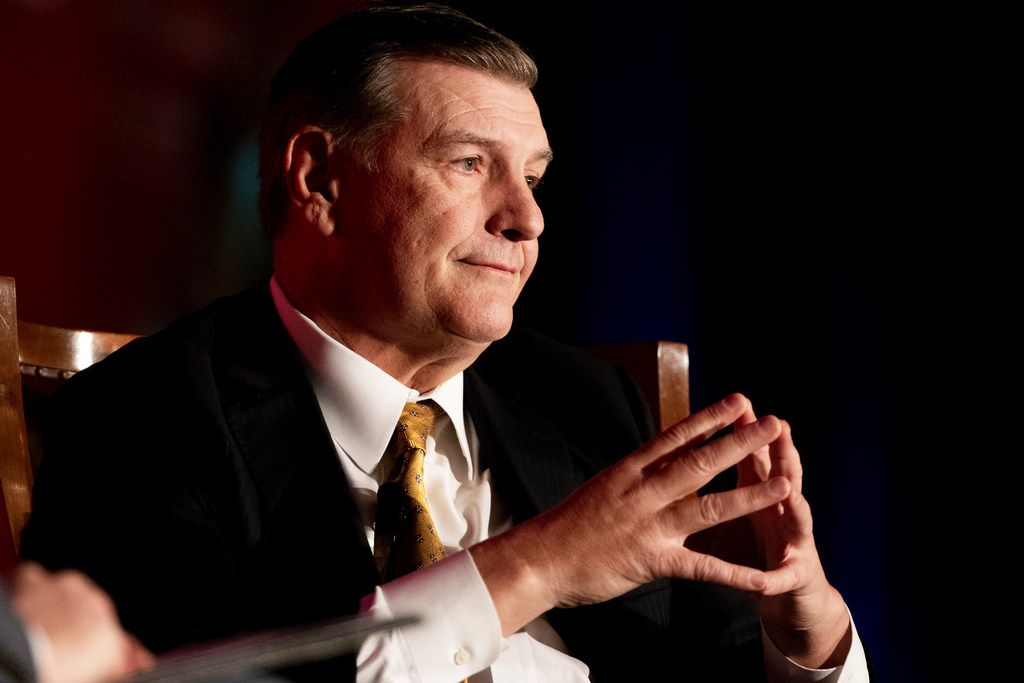Dallas Mayor Mike Rawlings gets emotional before talking about his wife on stage during Rawlings final State of the City address at the Dallas Regional Chamber luncheon at the Hyatt Regency Dallas on Tuesday, December 4, 2018. (Shaban Athuman/The Dallas Morning News)