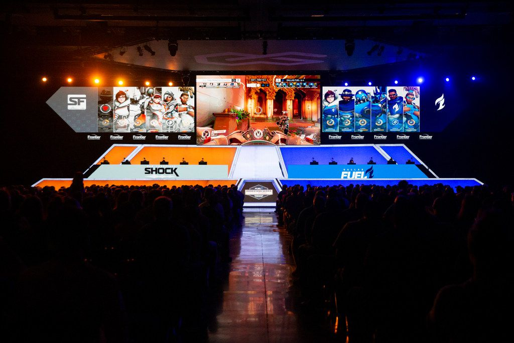 The Dallas Fuel plays against the San Francisco Shock during the season three opening weekend of the Overwatch League on Feb. 9, 2020 at the Esports Stadium in Arlington. The Fuel lost 3-1. (Juan Figueroa/ The Dallas Morning News)