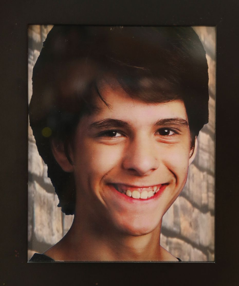 Detail of a photo of Jesse Uriegas taken at the Uriegas home in Plano. Jesse died at age 15 on Feb. 22, 2019.