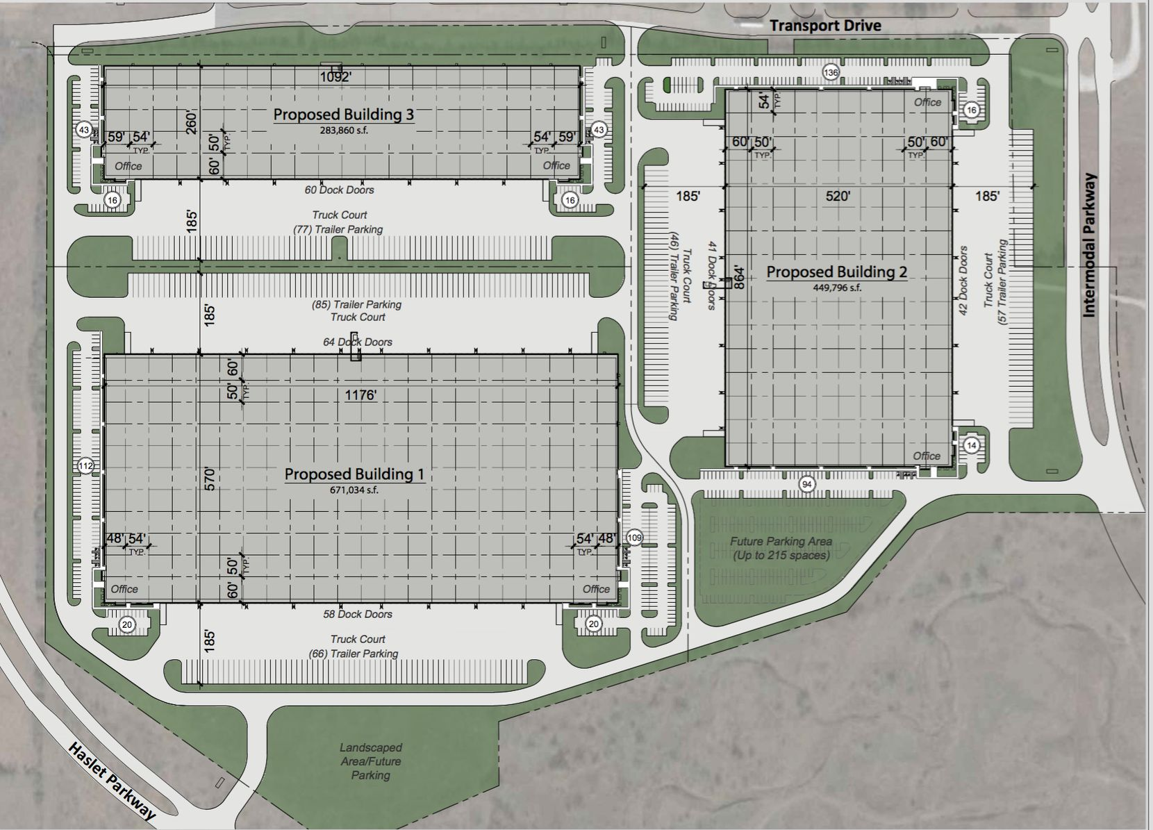 Intermodal Commerce Park will include three industrial buildings.