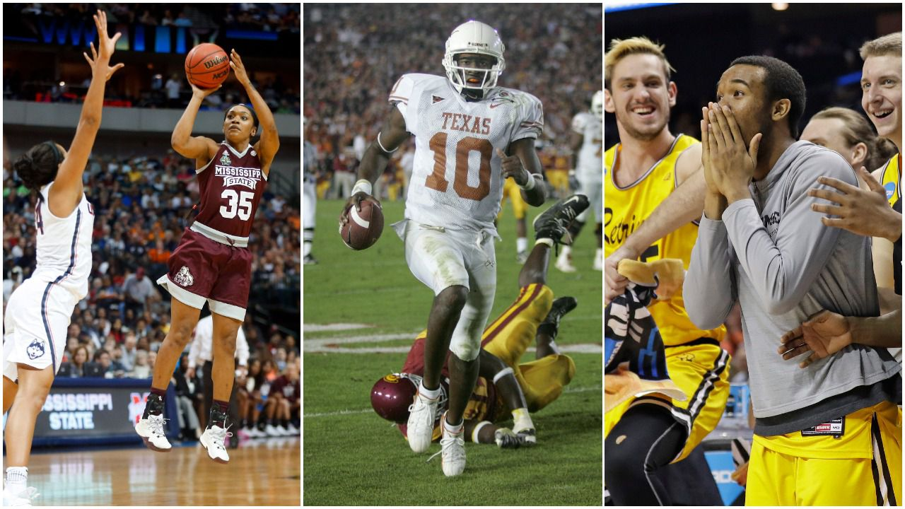 "Some of our staff's picks for ""Best Game I've Ever Covered"" include (left to right) Miss. State's championship win over UConn in Dallas, Vince Young leading Texas to a title in the Rose Bowl, and No. 16 seed UMBC's upset of No. 1 Virginia in the NCAA Tournament."