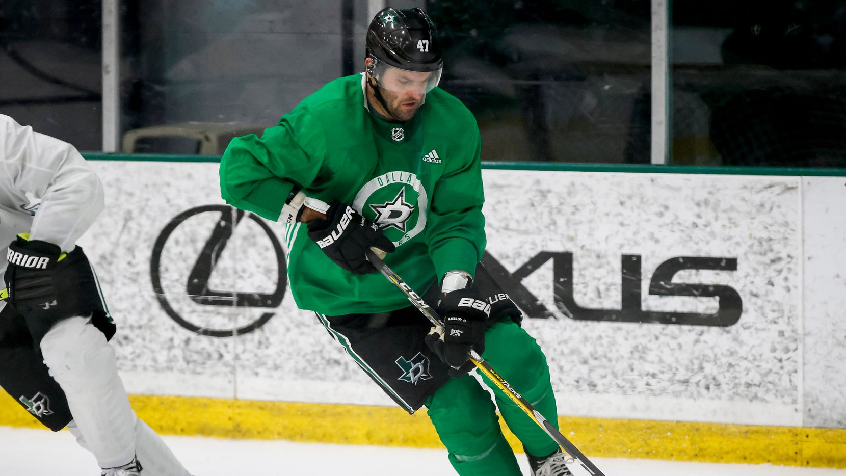 Dallas Stars right wing Alexander Radulov controls the puck during a training camp practice at the Comerica Center on Wednesday, Jan. 6, 2021, in Frisco.