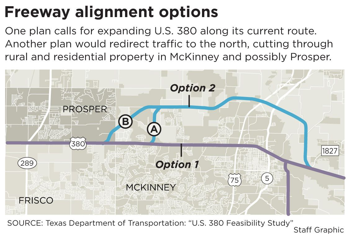 This map shows the two revised alignments proposed by TxDOT to improve U.S. Highway 380.