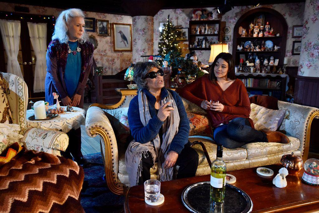 From left: Elly Lindsay (Mertis), Rhonda Boutté (Genevieve) and Olivia de Guzman (Jenny) star in the Dallas premiere of John  at Undermain Theatre in Dallas.