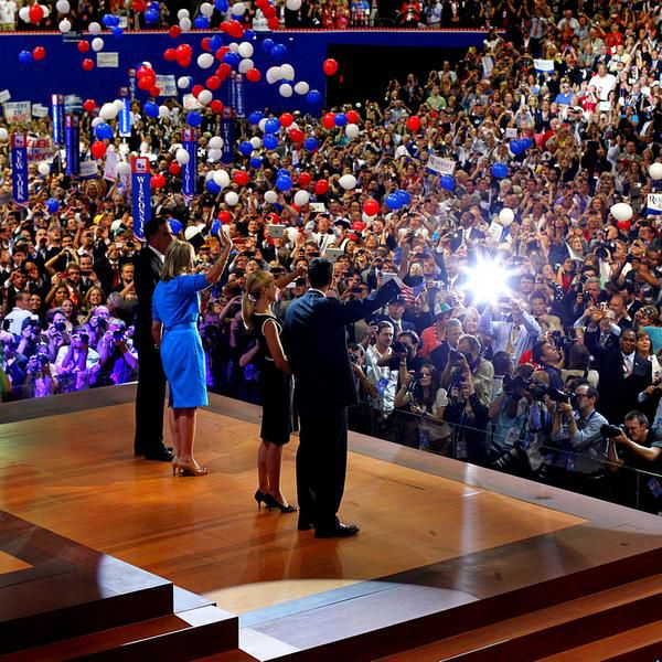 Presidential candidate Mitt Romney and his wife, Ann, (left) and Paul Ryan and his wife, Janna, wave to the crowd at the 2012 Republican National Convention in the Tampa Bay Times Forum. Dallas vied unsuccessfully to host the 2016 GOP convention.
