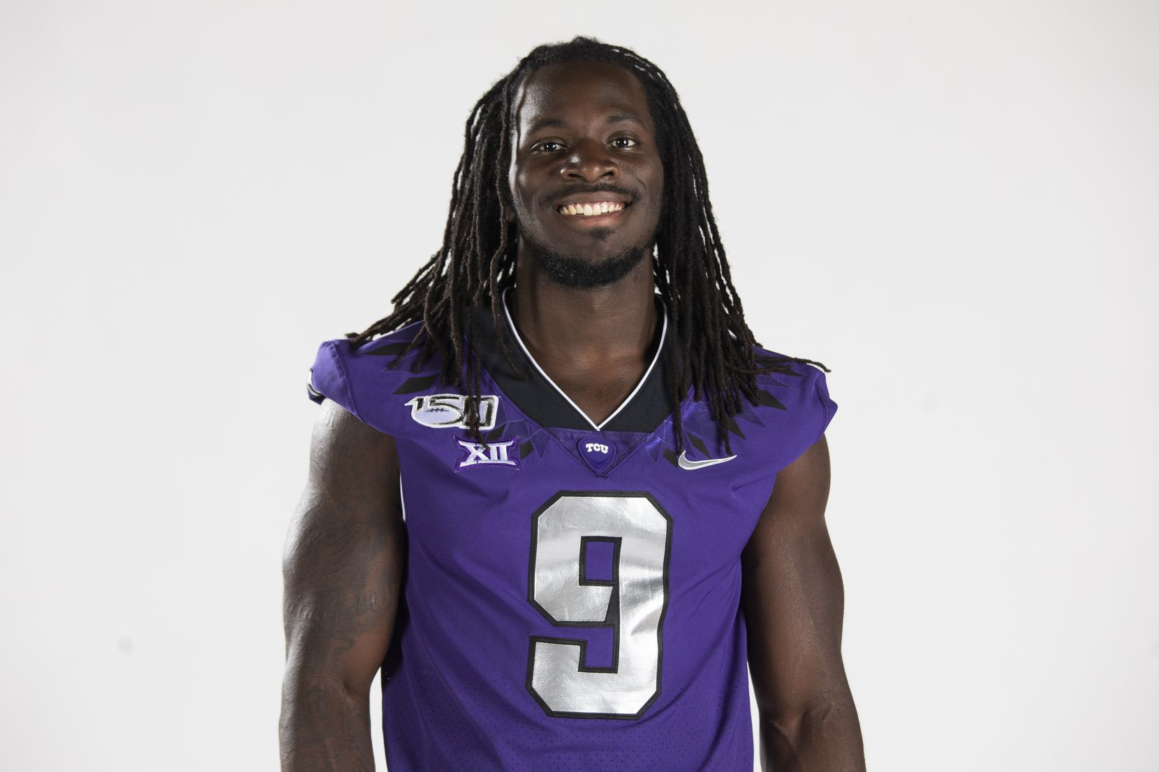 Texas Christian University Football #9 Te'Vailance Hunt photographed at TCU in Fort Worth, Texas on July 24, 2019.
