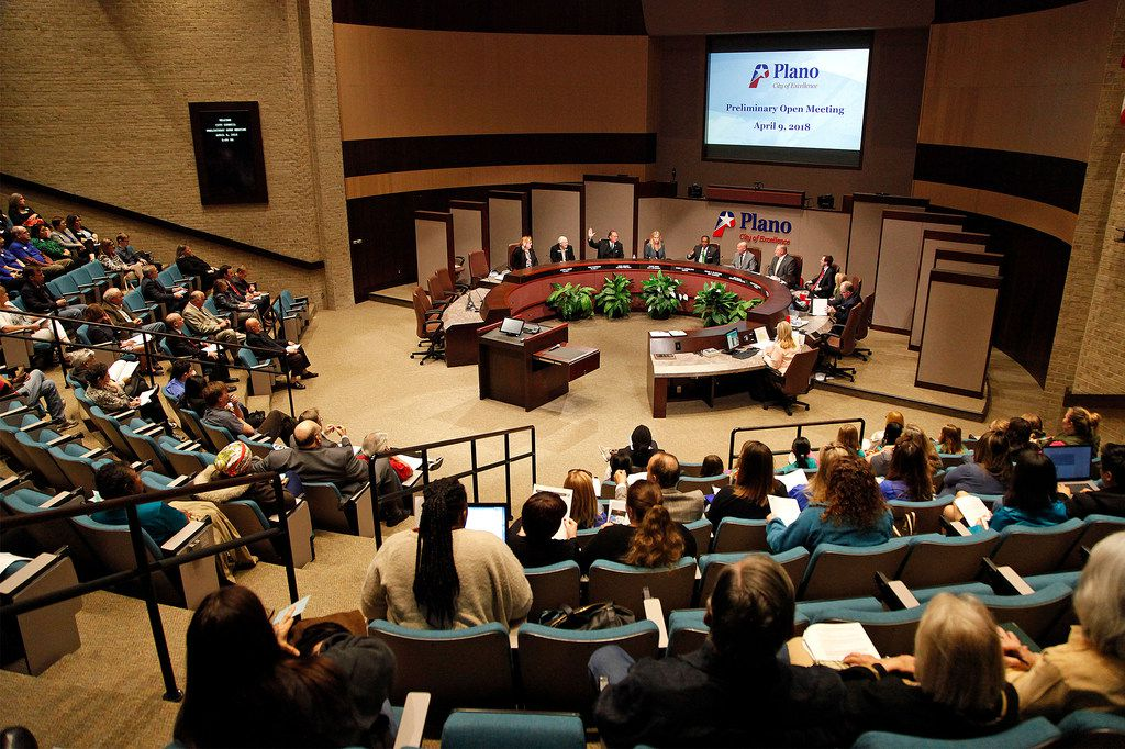 Plano City Council members consider a recall election for council member Tom Harrison.  (Stewart F. House/Special Contributor)