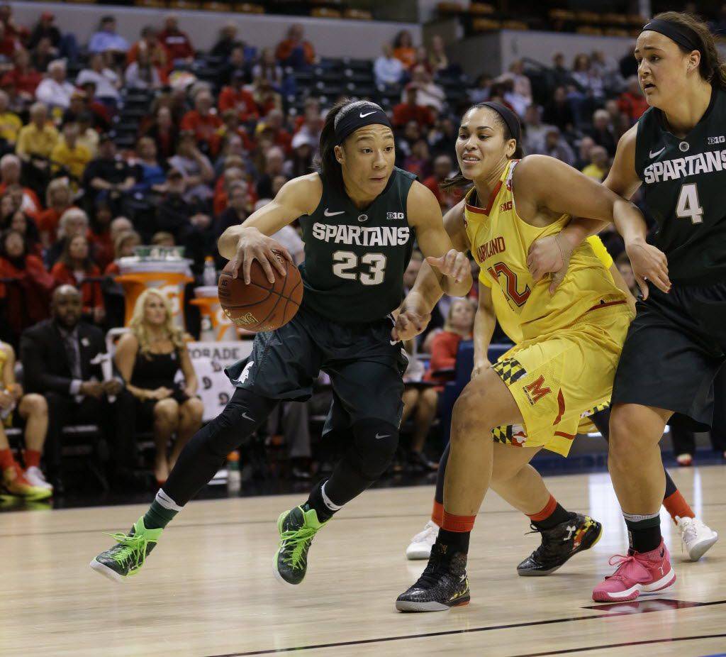 Michigan State forward Aerial Powers (23) drives on Maryland center Brionna Jones (42) in the first half of an NCAA college basketball game in the finals of the Big Ten Conference tournament in Indianapolis, Sunday, March 6, 2016. (AP Photo/Michael Conroy)