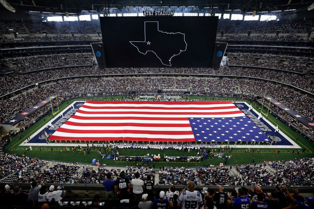 The Dallas Cowboys had a moment of silence for the victims of the Odessa shootings before the national anthem at AT&T Stadium in Arlington, Texas, Sunday, September 8, 2019. The Cowboys were facing the New York Giants.