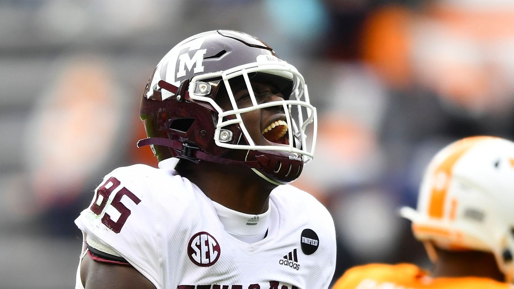 Texas A&M tight end Jalen Wydermyer (85) celebrates During an NCAA college football game against Tennessee in Neyland Stadium in Knoxville, Tenn., Saturday, Dec. 19, 2020.