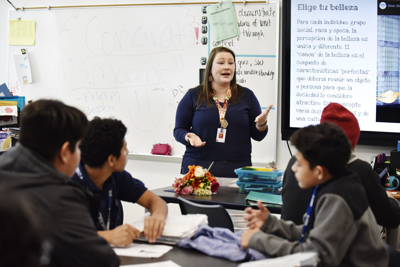 Susan Moreno, a J.L. Long Middle School Spanish teacher, conducts her class after being named the 2019 Milken Educator Award winner.