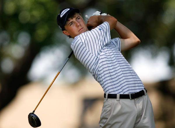 Fourteen year old Jordan Spieth of Jesuit High School tees off on the tenth hole of the final round of the EDS Byron Nelson Junior Championship at Lakewood Country Club in Dallas, Texas, Wednesday, July 2, 2008.