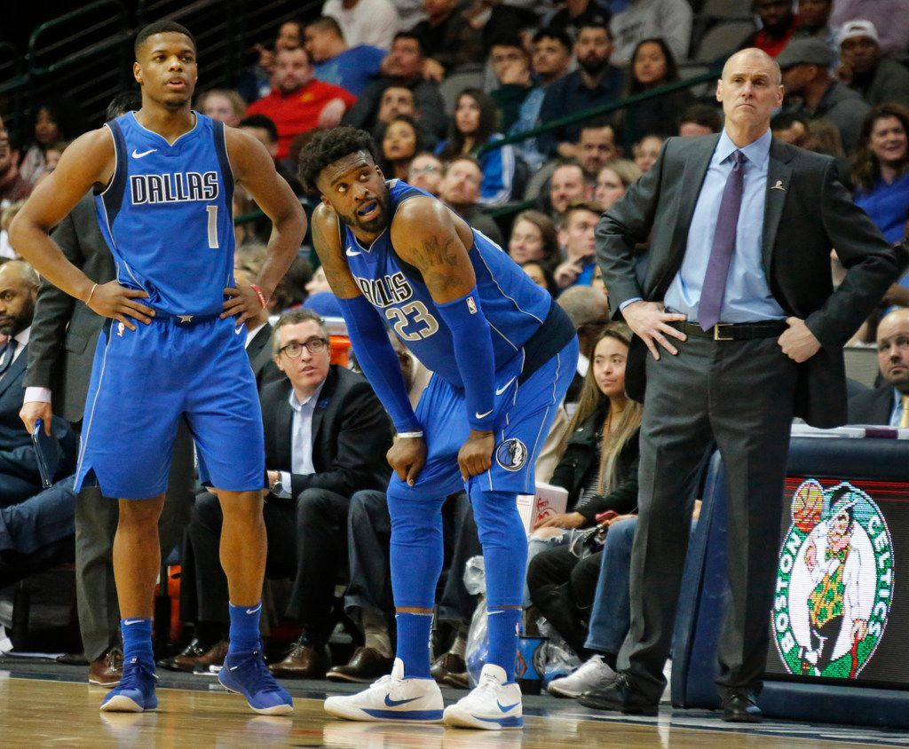 Dallas Mavericks Dennis Smith Jr. (1), Wesley Matthews (23) and head coach Rick Carlisle are pictured in the fourth quarter during the Houston Rockets vs. the Dallas Mavericks NBA basketball game at the American Airlines Center in Dallas on Wednesday, January 24, 2018. (Louis DeLuca/The Dallas Morning News)