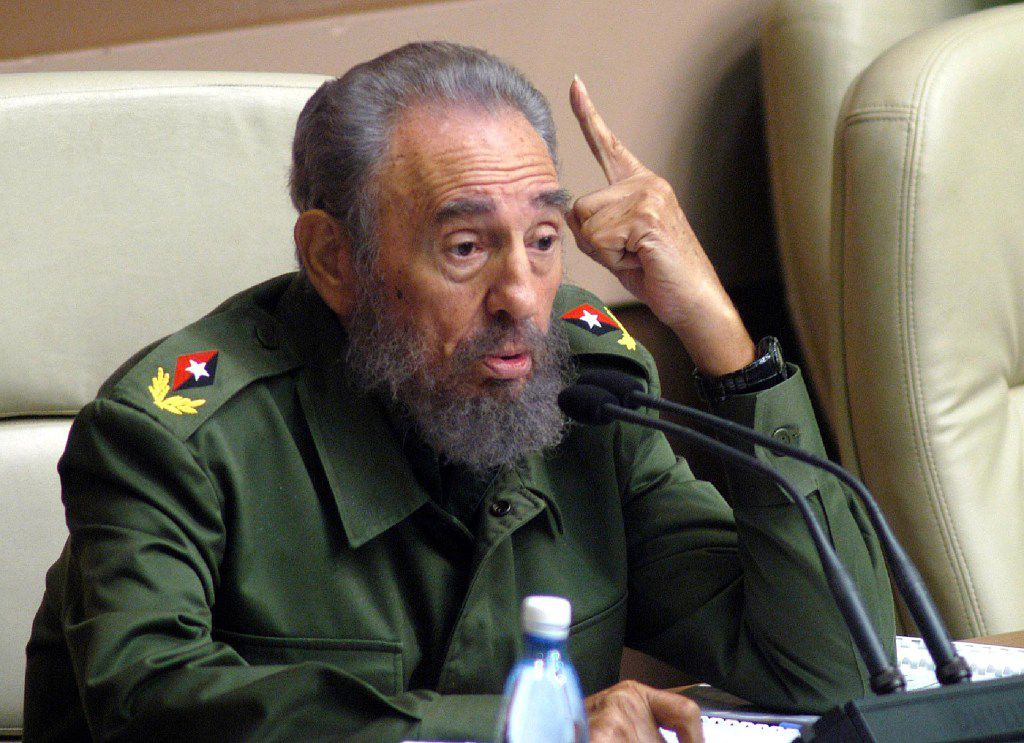 Cuban President Fidel Castro speaking during the 6th Session of the Cuban Parliament at the Conventions Palace in Havana.
