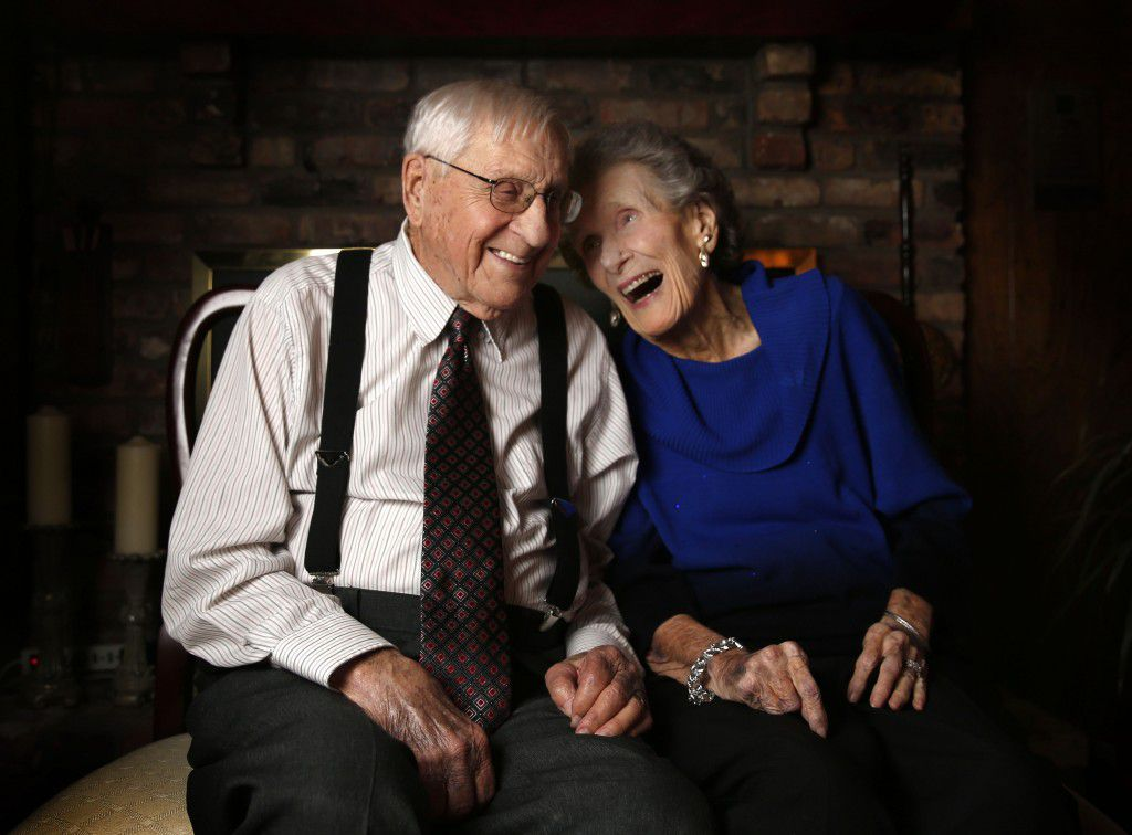 Clyde, 94, and LaVerne Hesser, 95, pose for a photograph at their home in Allen, Texas on Feb. 14, 2016. The couple has been married for 72 years. (Rose Baca/The Dallas Morning News)