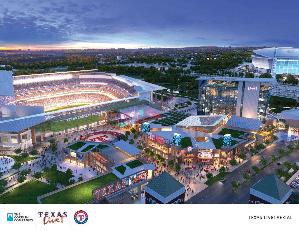 An artist's rendering shows the planned Texas Live! complex adjacent to a new Rangers ballpark. Arlington residents will vote on a proposed $1 billion, retractable-roof stadium. Early voting begins Monday.