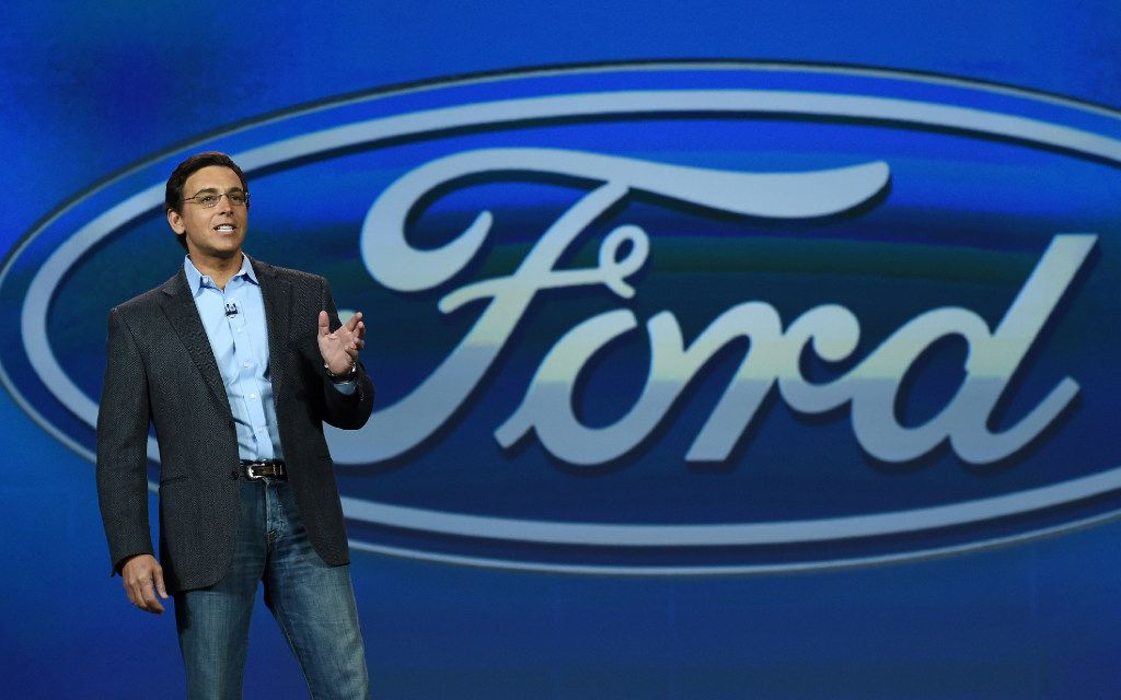 FILE- JANUARY 26: Ford posted its first loss in seven years due largely to a $3 billion non-cash adjustment of its pension obligations. LAS VEGAS, NV - JANUARY 06:  President and CEO of Ford Motor Co. Mark Fields delivers a keynote address at the 2015 International CES at The Venetian Las Vegas on January 6, 2015 in Las Vegas, Nevada. CES, the world's largest annual consumer technology trade show, runs through January 9 and is expected to feature 3,600 exhibitors showing off their latest products and services to about 150,000 attendees.  (Photo by Ethan Miller/Getty Images)