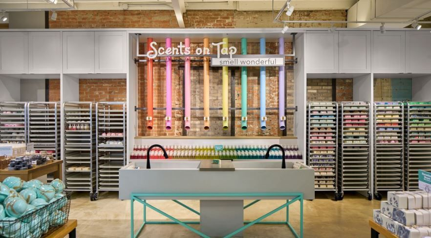 One of the interactive features in the Buff City Soap store in Snider Plaza. The store's latest concept store was designed by CallisonRTKL.