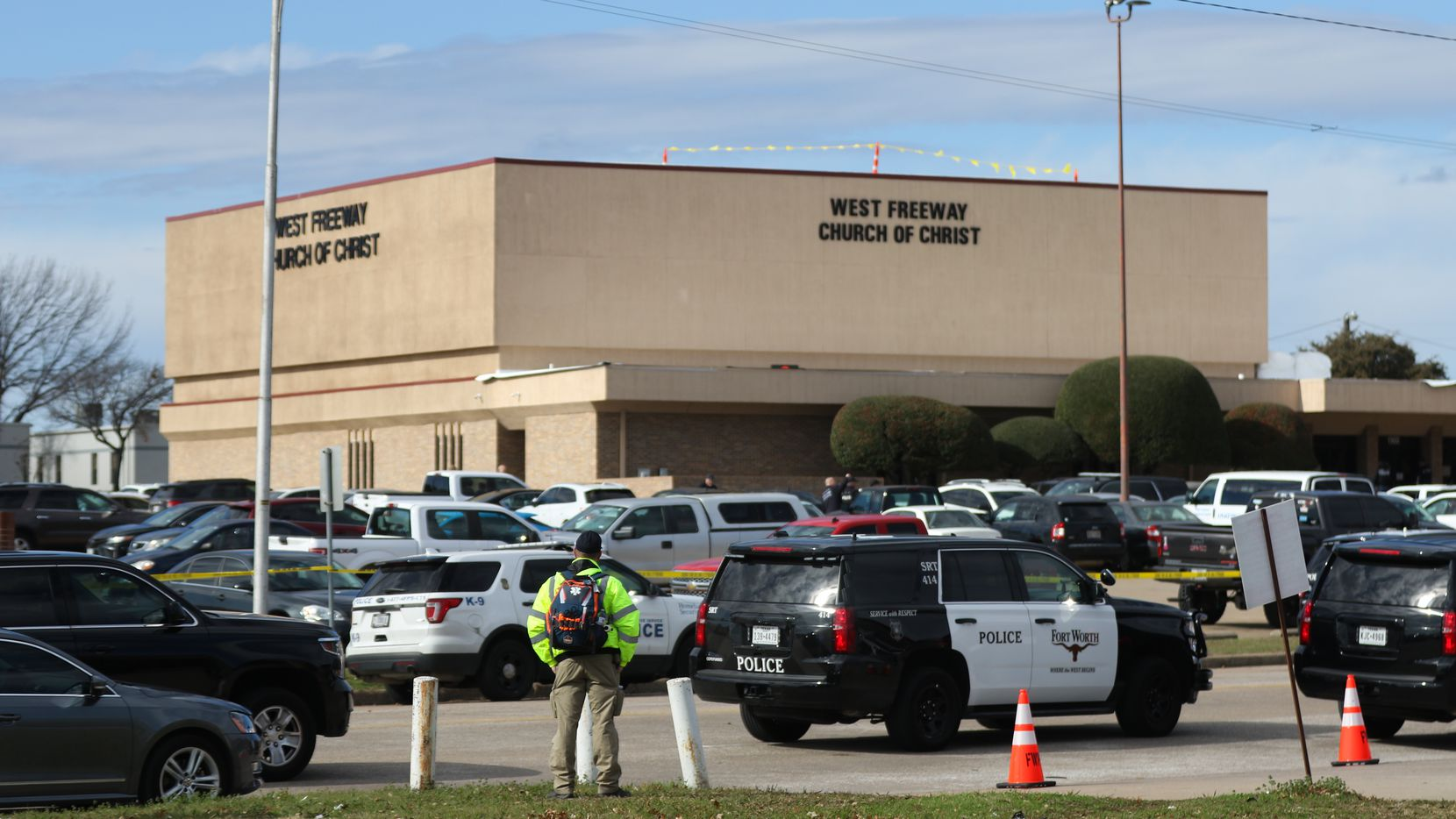 Two people are dead and another is in critical condition after a church shooting at West Freeway Church of Christ on Dec. 29, 2019 in White Settlement. (Juan Figueroa/ The Dallas Morning News)