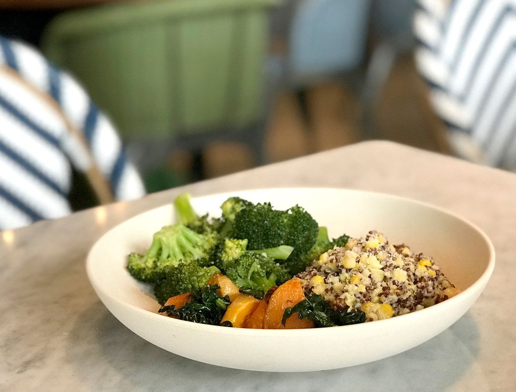 Flower Child's menu is focused on vegetables and healthful proteins. This three-vegetable plate is paleo, vegetarian and gluten-free.
