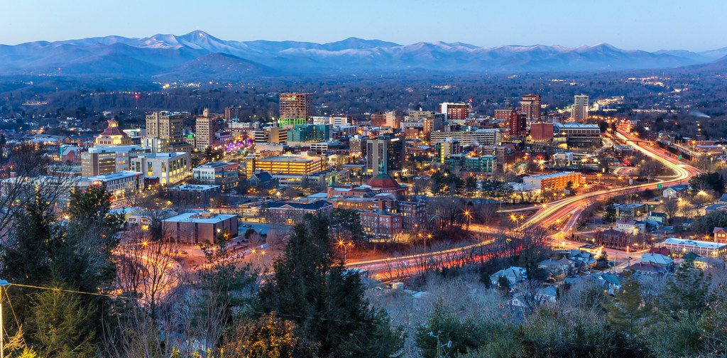 Asheville, N.C., offers a bustling downtown surrounded by the splendor of the Blue Ridge Mountains.