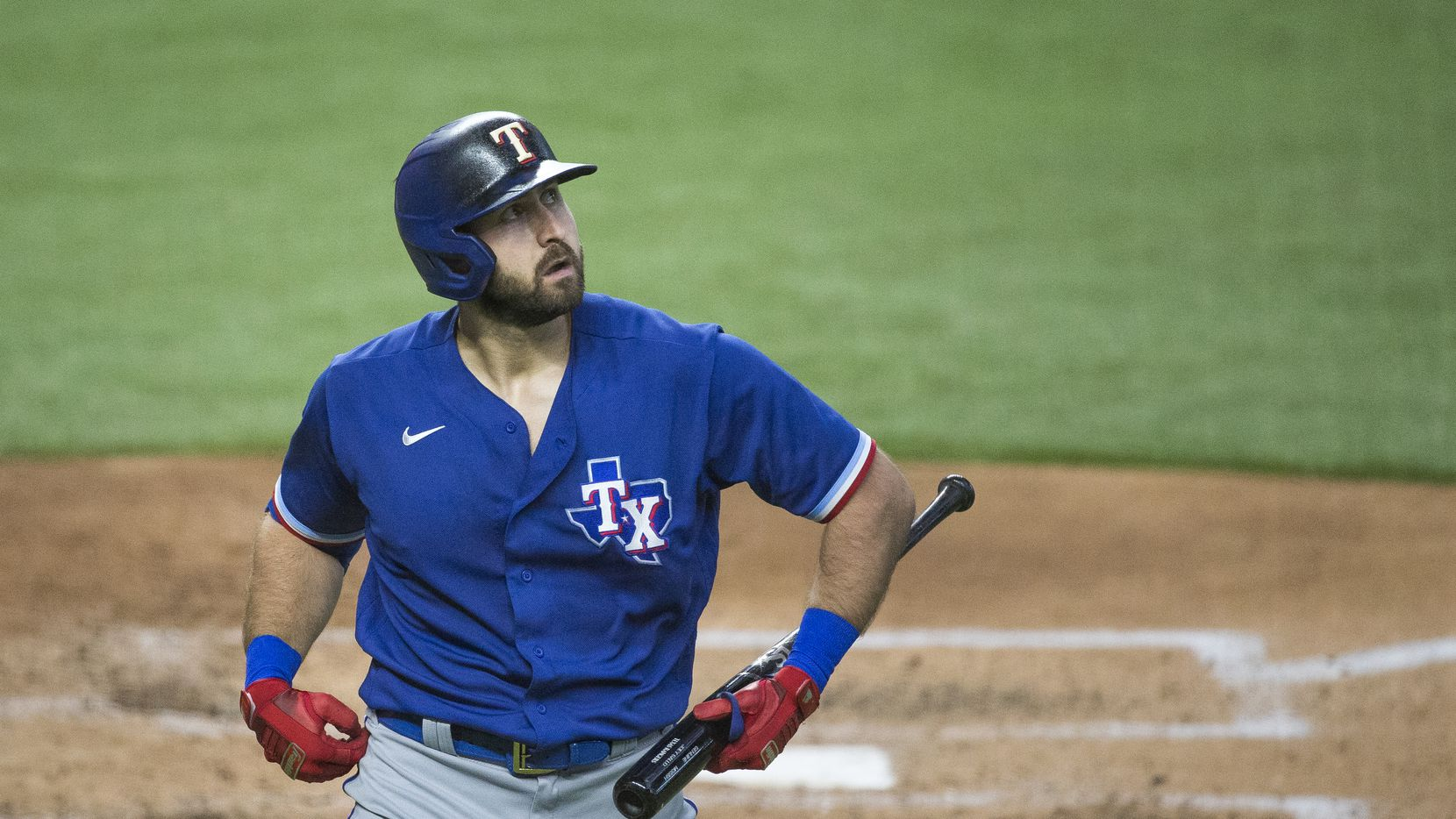 Joey Gallo heads to the dugout after batting during Texas Rangers Summer Camp batting practice on Monday, July 20, 2020 at Globe Life Field in Arlington, Texas.