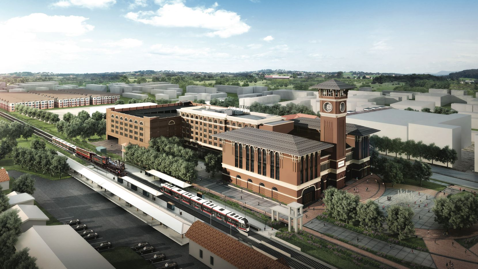 The Grapevine Main development will include a new commuter rail station.