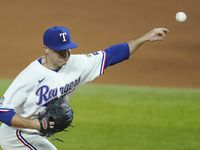 Texas Rangers relief pitcher John King delivers during the fourth inning against the Los Angeles Angels at Globe Life Field on Wednesday, Sept. 9, 2020.
