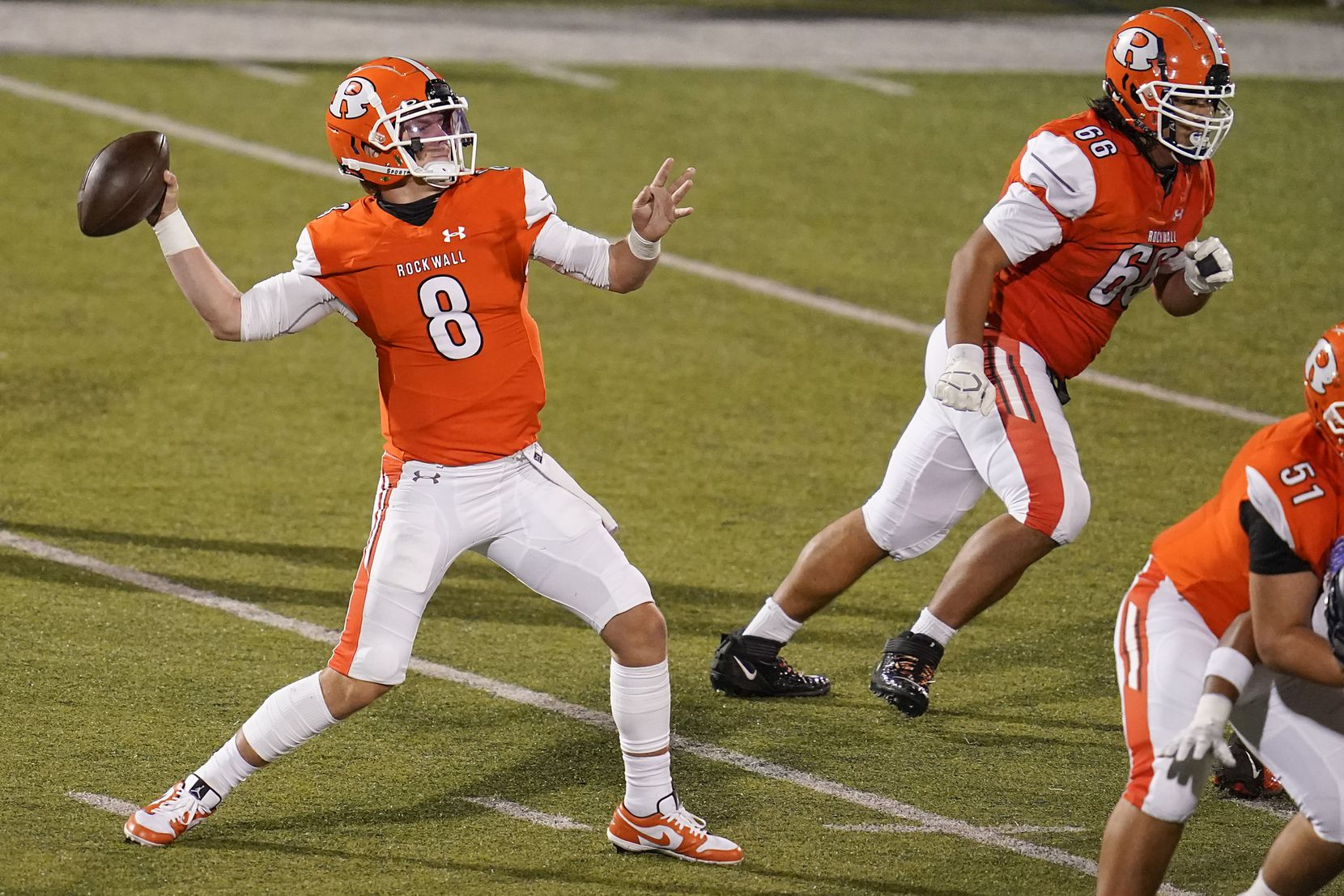 Rockwall quarterback Braedyn Locke throws a pass during the first half of a high school football game against Highland Park on Friday, Oct. 16, 2020, in Rockwall, Texas. (Smiley N. Pool/The Dallas Morning News)
