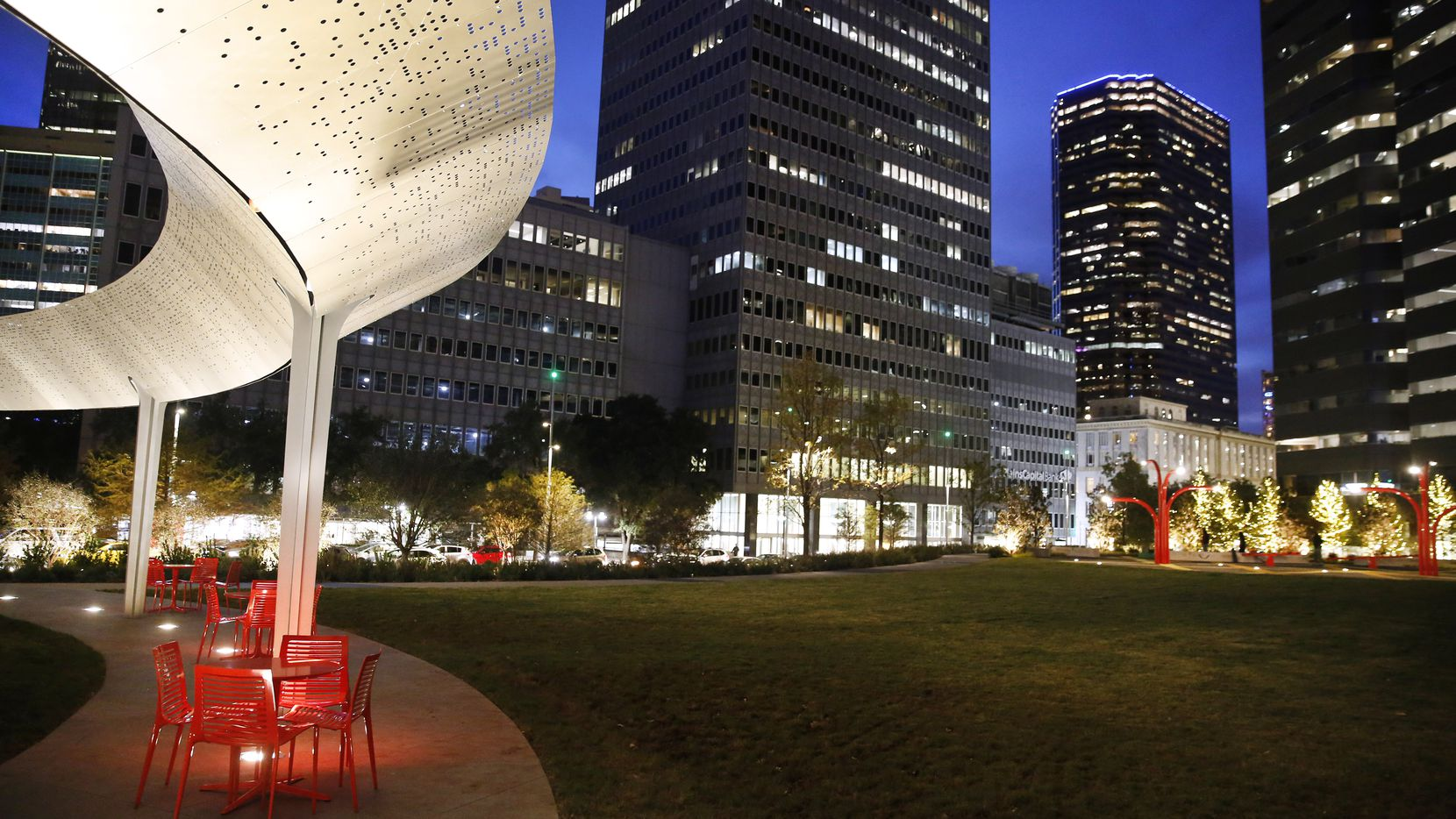 One of the most unique elements in Pacific Plaza is The Pavilion (left), a floating 95-by-138-foot ovoid structure of stainless steel. Morse Code Signatures of every stop along the Texas and Pacific Railroad between El Paso and New Orleans are cut out of the steel ring.