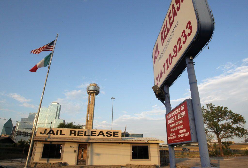 Bail bond companies line Riverfront Boulevard near the Lew Sterrett Justice Center in Dallas.