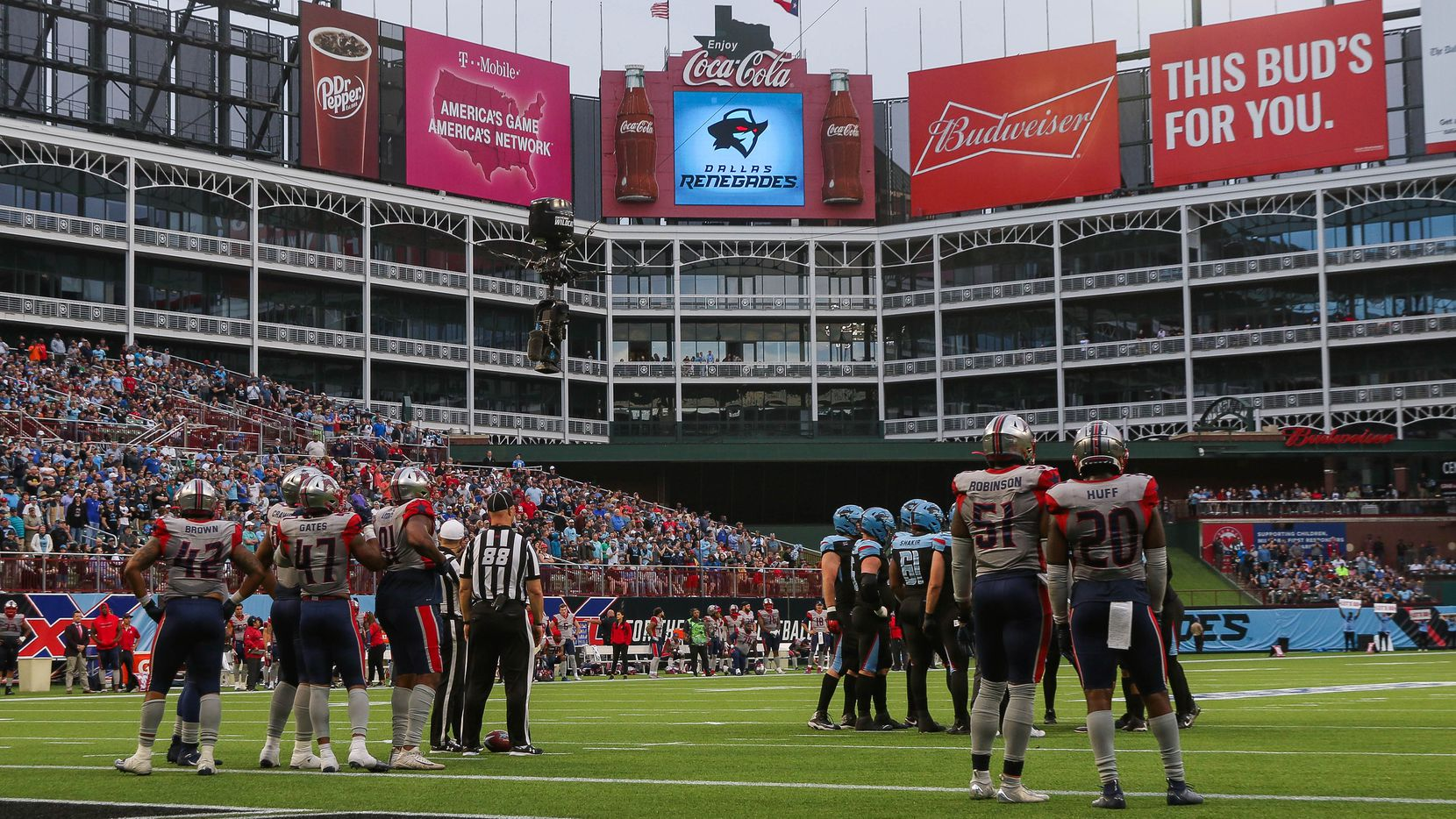 The second half of an XFL football game between the  Dallas Renegades and the Houston Roughnecks at Globe Life Park on Sunday, March 1, 2020 in Arlington. The Renegades lost 20 to 27.