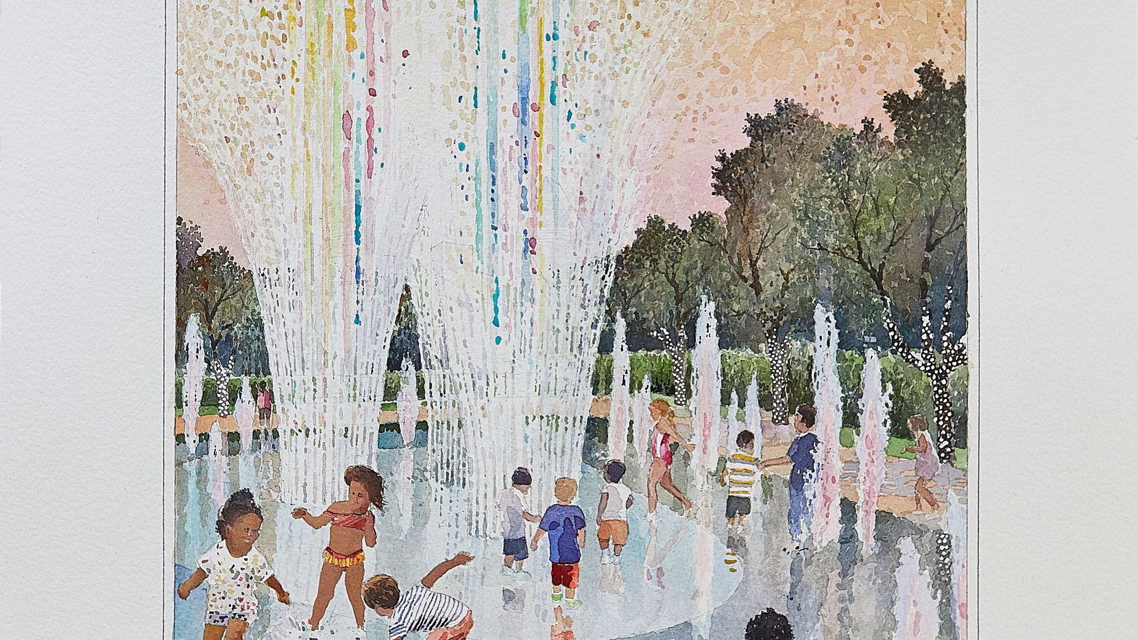 Artist rendering of a fountain to be added during an expansion of Klyde Warren Park.