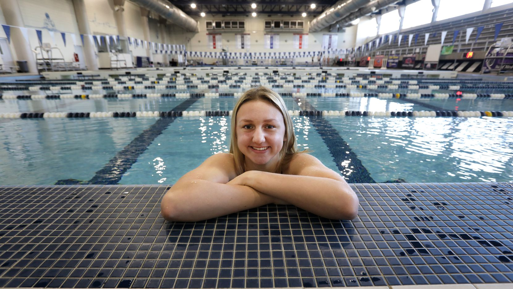Frisco Independence swimmer Sienna Schellenger poses for a photograph at the Bruce Eubanks Natatorium in Frisco, TX, on Feb. 23, 2021.