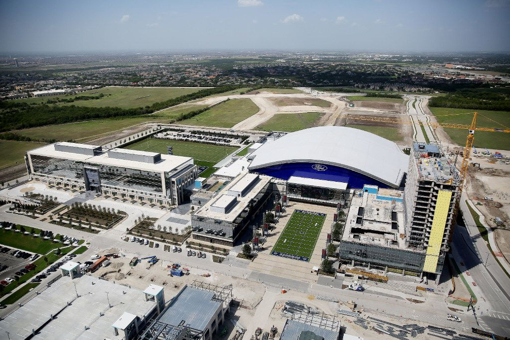 An aerial view of the Dallas Cowboys headquarters at The Star from the Cowboys new corporate helicopter in Frisco on Sept. 8. The aircraft is a customized Airbus H145 corporate helicopter. (Andy Jacobsohn/Staff Photographer)