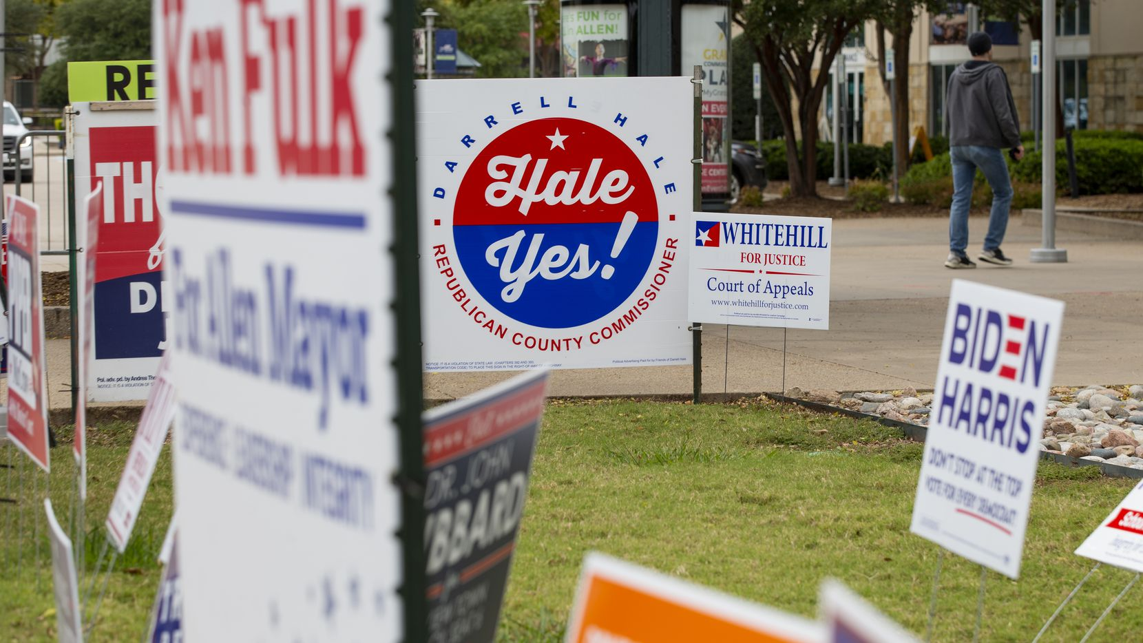 Political signs outside of the Allen Event Center in Allen on Thursday, Oct. 29, 2020. (Juan Figueroa/ The Dallas Morning News)
