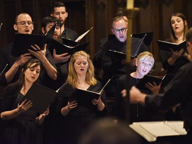 The chamber choir Incarnatus, directed by Scott Dettra, performs at Church of the Incarnation in Dallas on Jan. 24, 2020. Dettra, music director and organist at Church of the Incarnation, is launching a free midday concert series focusing on the music of Bach.