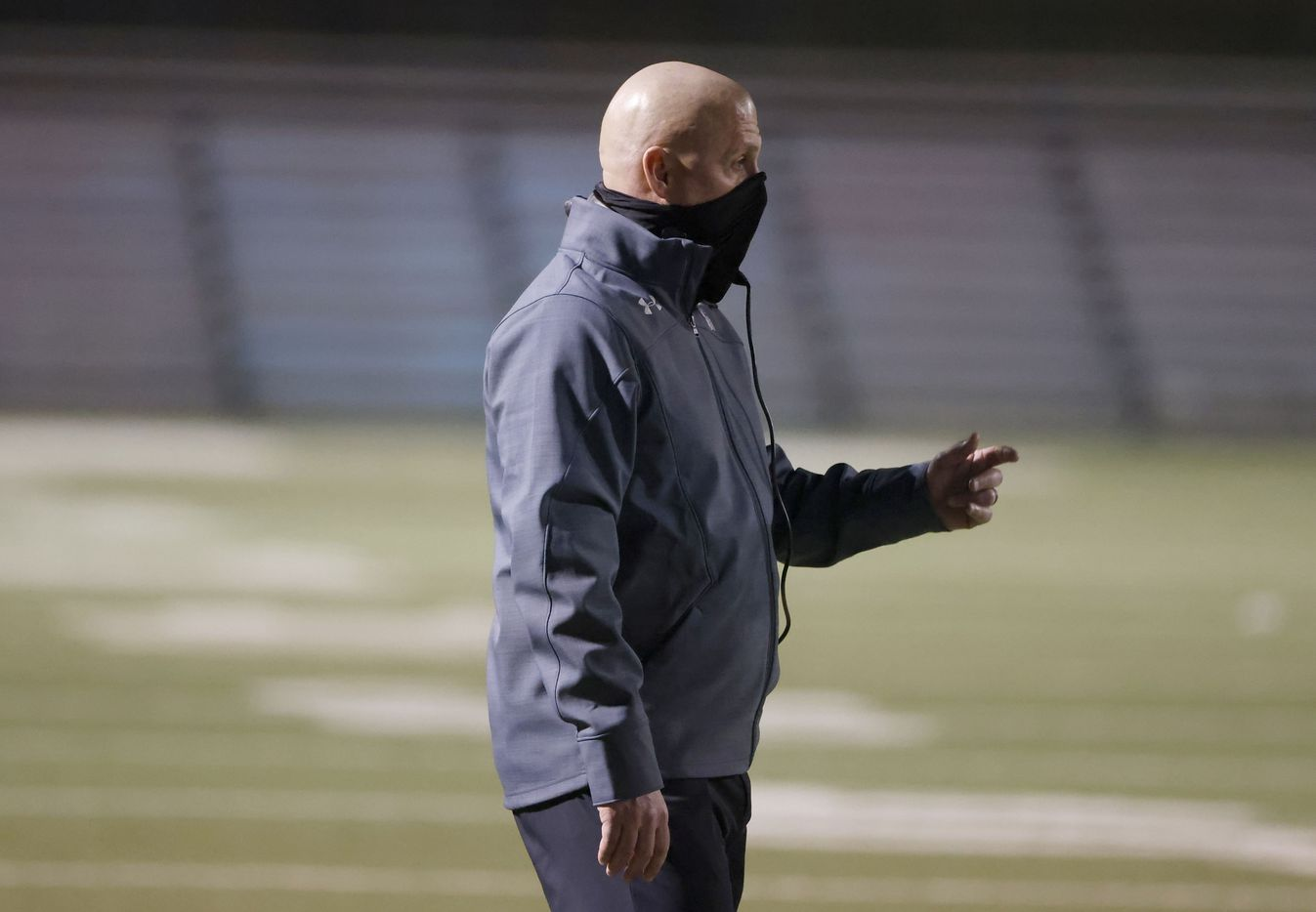 Arlington Martin head coach Bob Wager directs is team against Lewisville during Class 6A Division I area-round playoff hight school football game on Dec. 17, 2020. (Michael Ainsworth/Special Contributor)