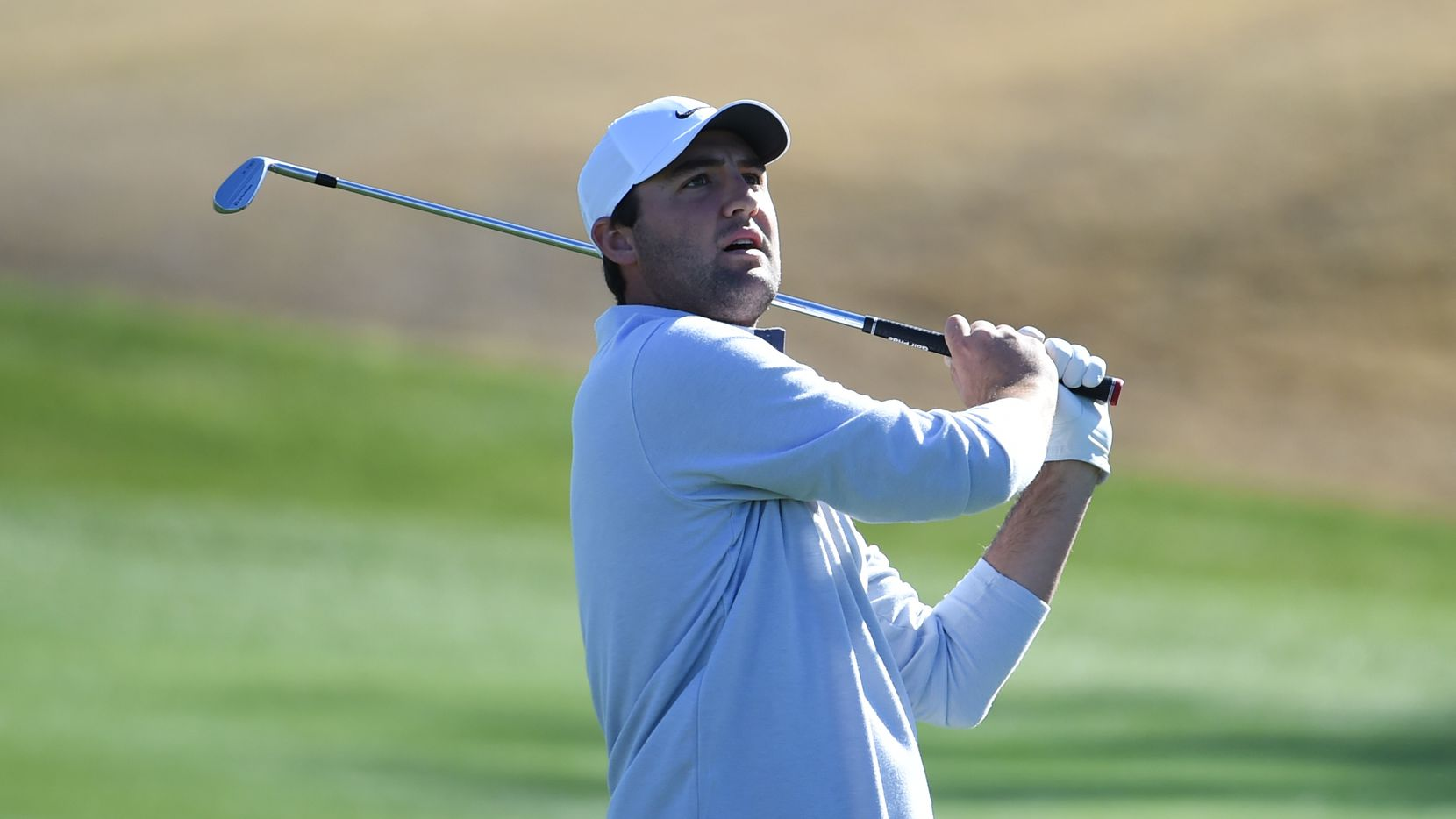 LA QUINTA, CALIFORNIA - JANUARY 18: Scottie Scheffler plays his shot during the third round of The American Express tournament  at the Stadium Course at PGA West on January 18, 2020 in La Quinta, California.